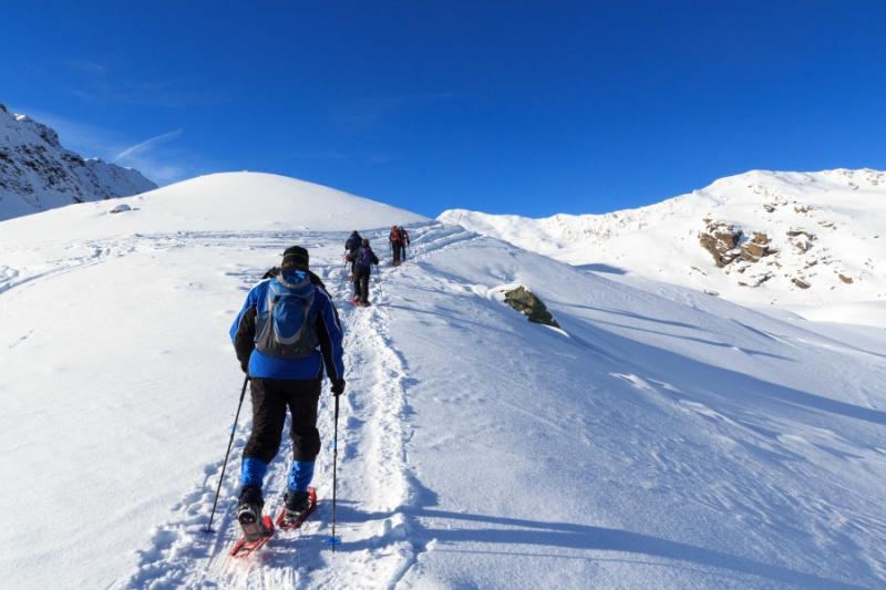 Snowshoeing in the Stubai Alps, Austria.