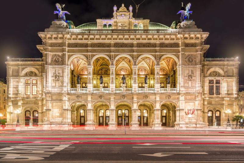 State Opera House night, Vienna.