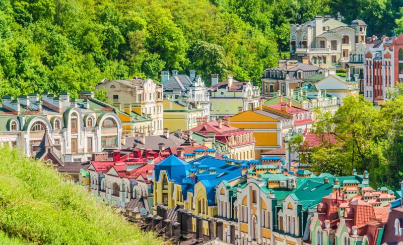 Colored houses in Kiev, Ukraine.