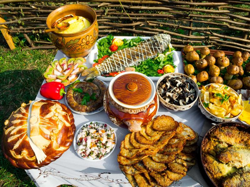 Traditional foods in Ukraine.