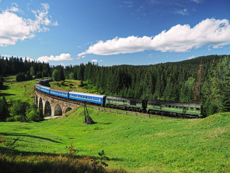 Train through the Carpathian mountains.