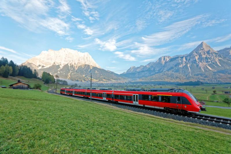 Zugspitze Mountain scenic train.
